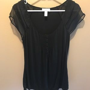 Ann Taylor black t with sheer sleeves.